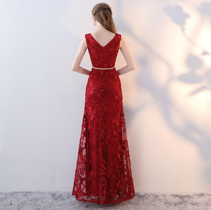 BANVASAC 2019 Elegant Lace Appliques V Neck Split Mermaid Long Evening Dresses Party Metal Sash Backless Prom Gowns in Evening Dresses from Weddings Events
