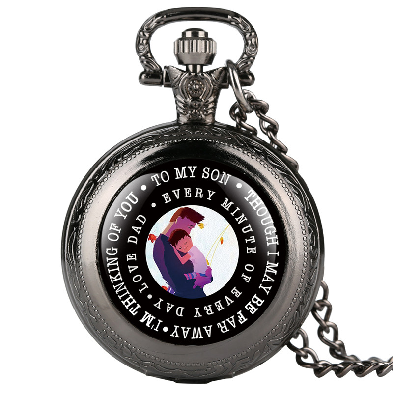 Quartz Pocket Watch Retro Love Dad Series Pocket Watch With Cartoon Figure For Son Full Cover Pendant Gift For Pocket Watch