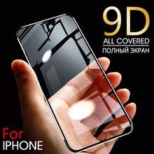 Protetor de tela da liga de alumínio 9d no para o iphone 6 7 8 plus x vidro temperado completo para o iphone 11 pro 8 se 5S vidro protetor