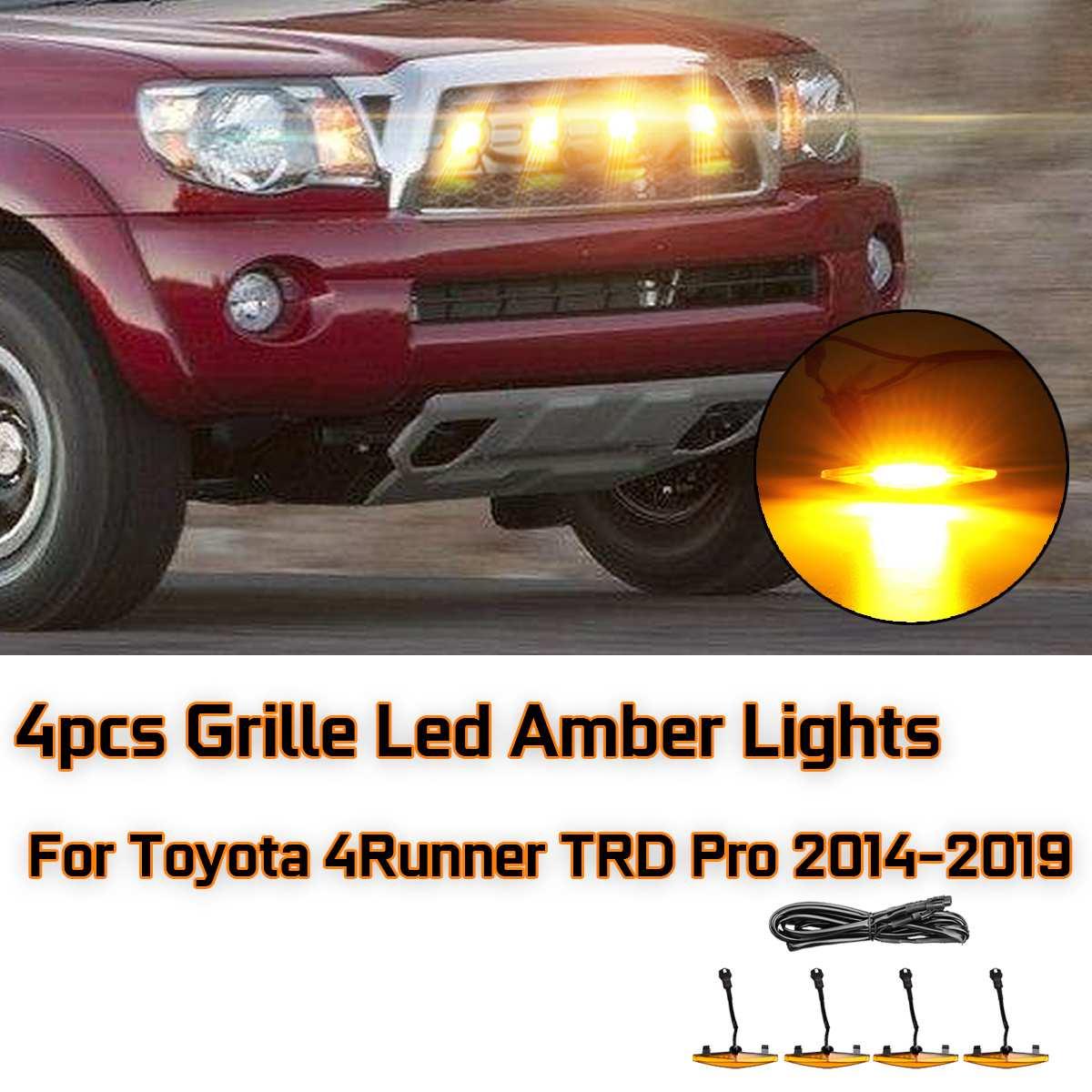 Voiture en plastique Led Allume 4 pièces Calandre Ambre De Led Lumières Pour Toyota 4runner pour TRD Pro 2014-2019 Voiture Lumière Fournitures