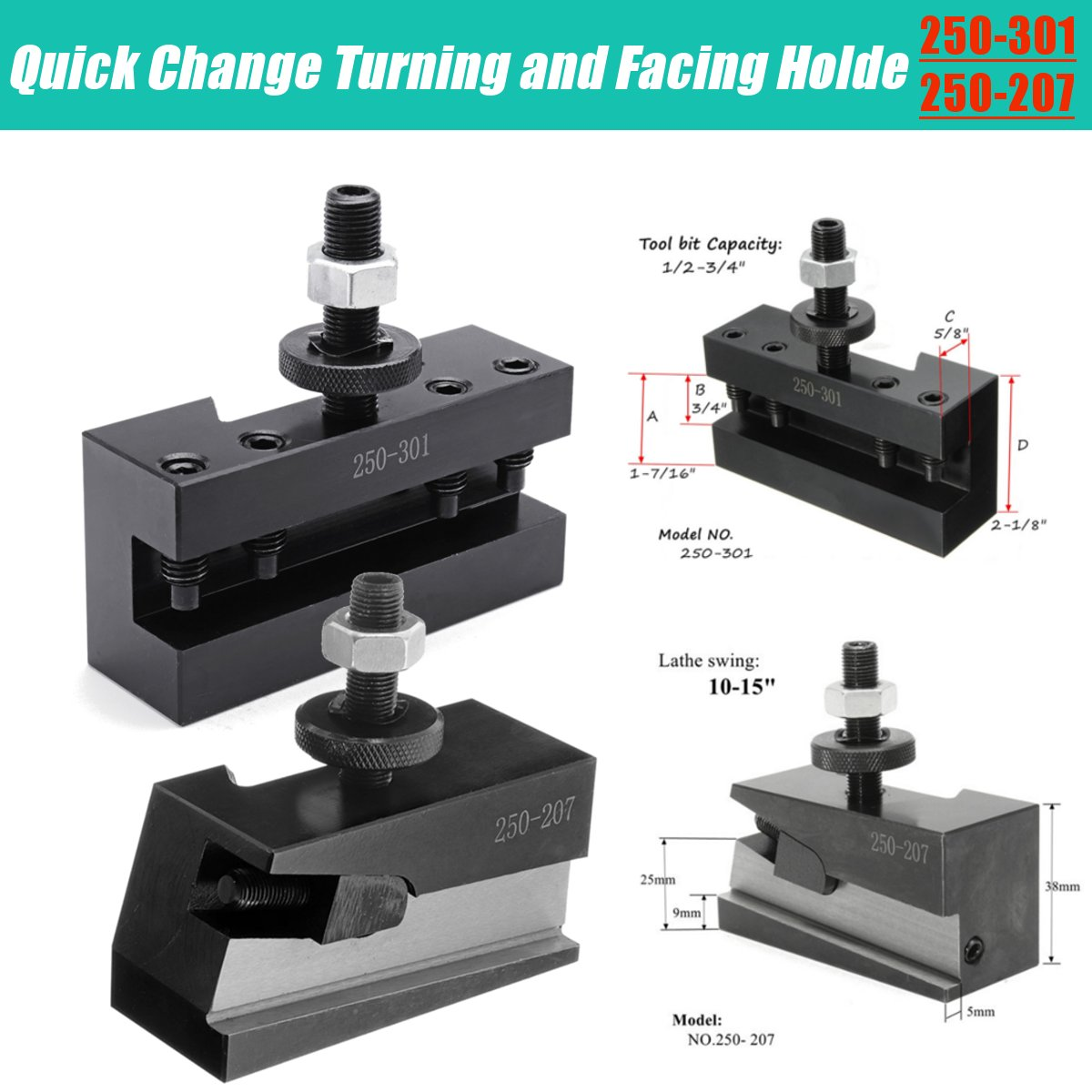 Steel 10-15 Quick Change CNC Lathe Tool Post Turning Facing Holder NO.250-201
