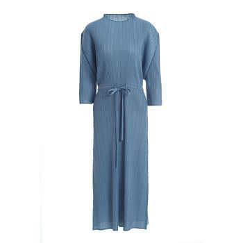 LANMREM High Quality 2019 Summer New Pattern Pleat Clothes For Women Drawstring Waist Three Quarter sleeve Dress hot sale YH205
