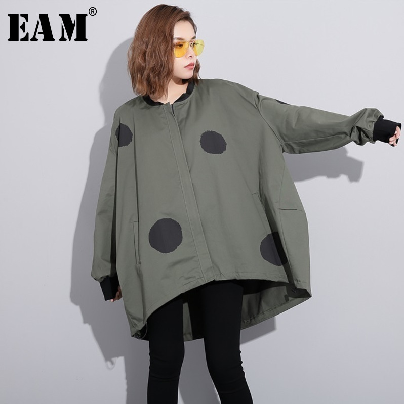 [EAM] 2020 New Spring Stand Collar Long Sleeve Dot Printed Irregular Solid Color Large Size Jacket Women Coat Fashion Tide JC952