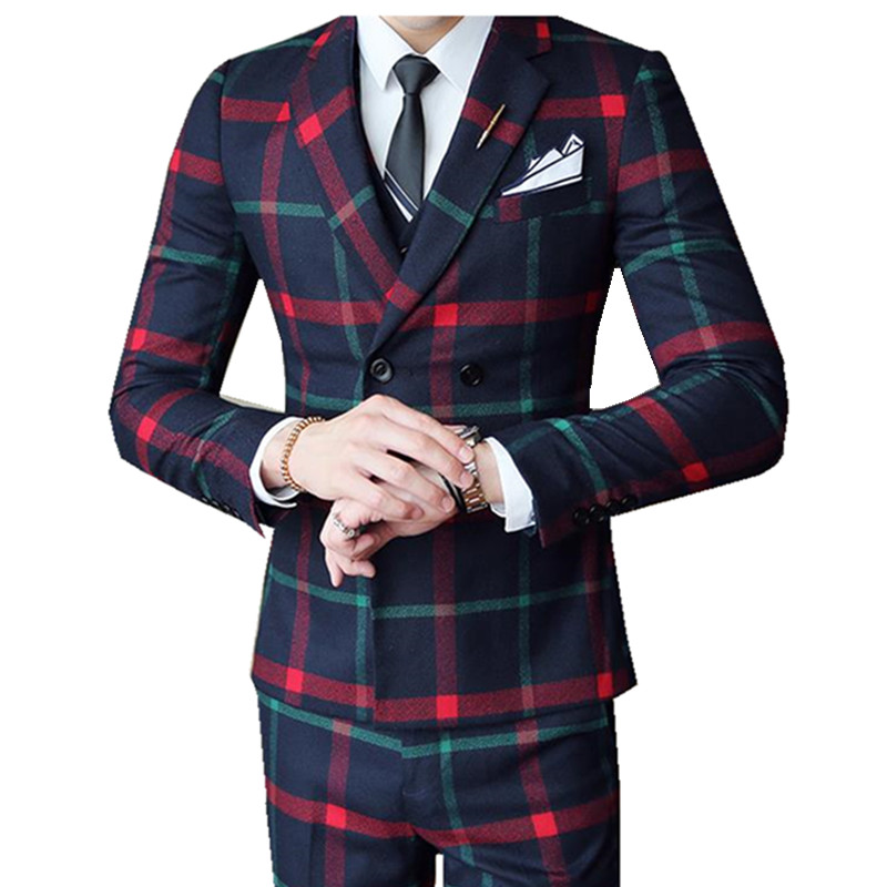 Red Chess Suit For Men (Jacket + Vest + Pants) 2018 New Wedding Party Men's Suits Costume Mariage Homme Men's Check British Styl