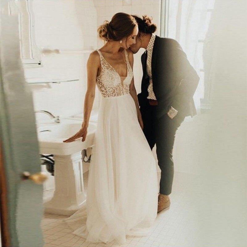Eightale Wedding Dresses 2019 New Summer Illusion Vestido De Noiva V Neck Cheap Chiffon A Line Beach Wedding Dress Custom Size