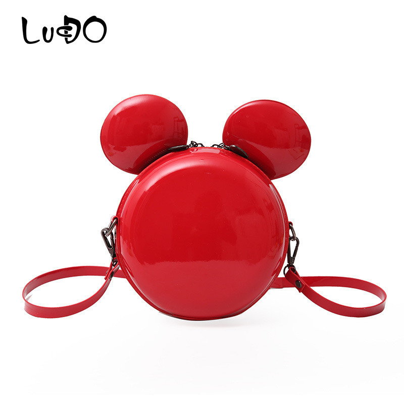 LUCDO New Fashion Cartoon Mouse Women Bag Small Cute Shoulder Bag High Quality PU Leather Shiny Mini Large Ear Round Bag Clutch
