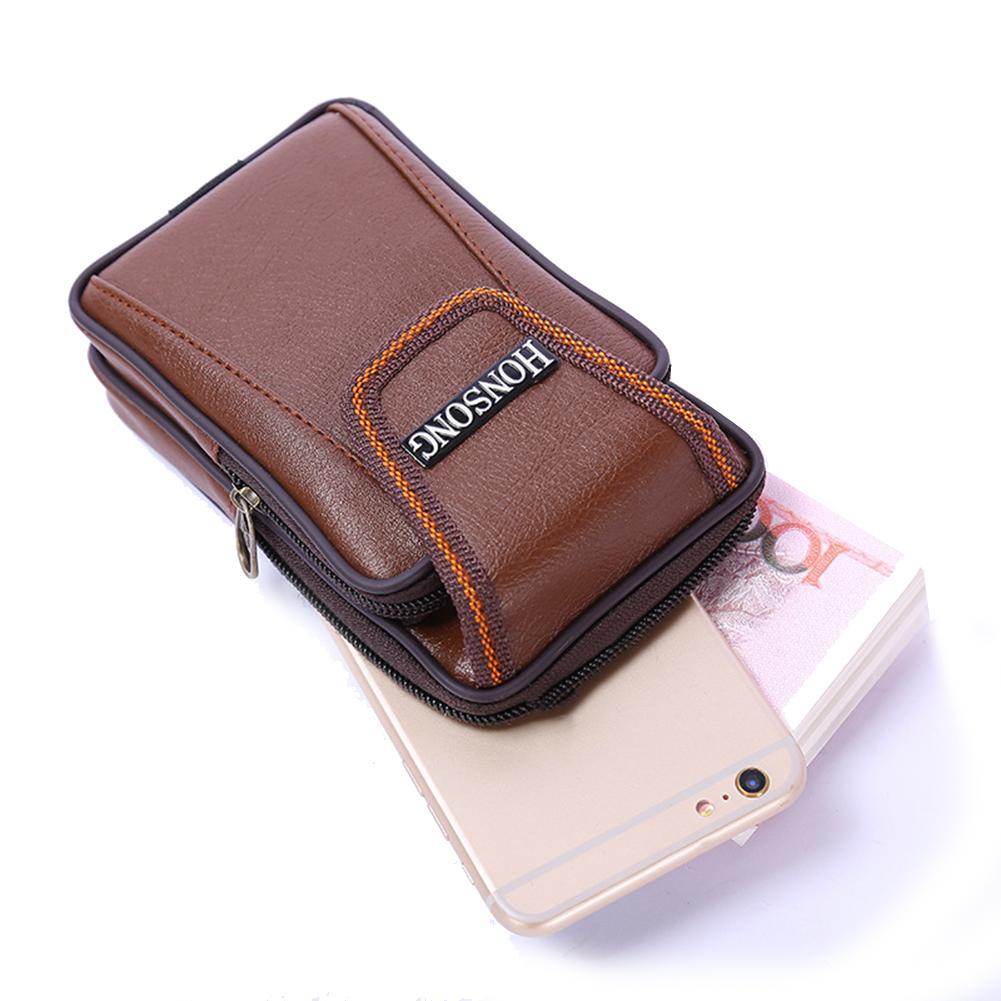 Men's Leather Belt Loop Zipper Multi-Pockets Waist Bag Phone Cash Pouch Bag