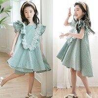 Cotton Teen Dress Girl Summer Kids Green Loose Little Girl Dress 2019 Ruffled Patchwork Age 10 14 15 8 6 5 7 4