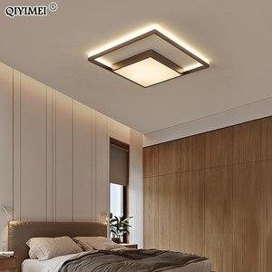 Image 3 - Kare Led tavan ışıkları oturma odası yatak odası uzaktan kumanda Lamparas De Techo Moderna altın kahve çerçeve ev armatürleri