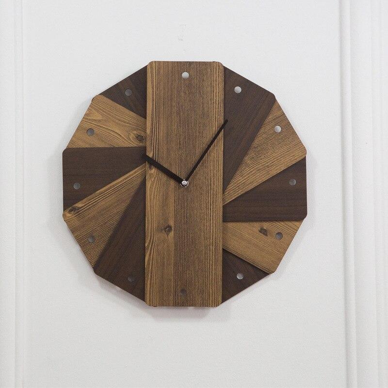 European Wooden Retro Wall Clock Simple Design Vintage Quartz Wall Clocks Decorative Timer Wood Watch Wall Watch Single Side