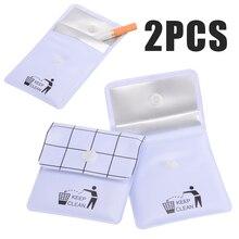 2 個ホワイト PVC ポータブル灰皿ポケット屋外喫煙シガータバコ灰収納袋旅行アクセサリー 75 × 80 ミリメートル