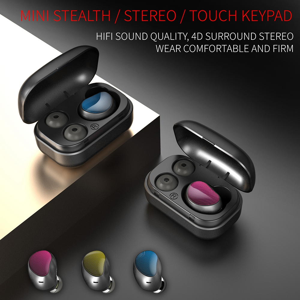 Single Piece Business Wireless V4 2 Bluetooth Earphone Mini Touch Control Noise Reduction TWS Stereo Earbud with Charging Box in Bluetooth Earphones Headphones from Consumer Electronics