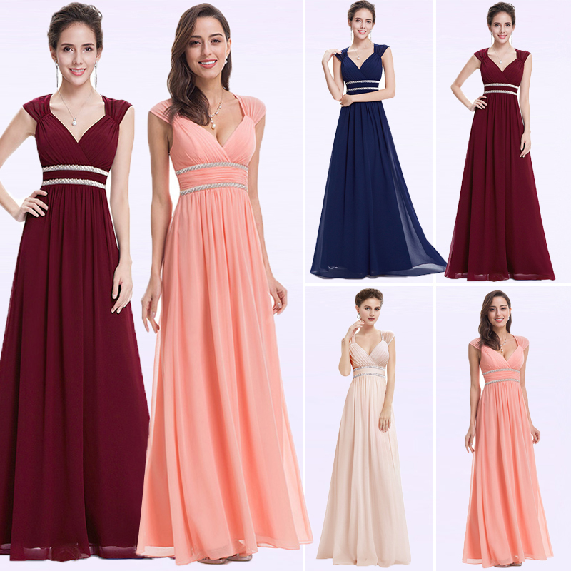 Image 2 - Plus Size Elegant V Neck Long Evening Dress 2019 Cheap Chiffon Party Gowns Ruched Beading Empire Hollow Out Formal Dress-in Evening Dresses from Weddings & Events