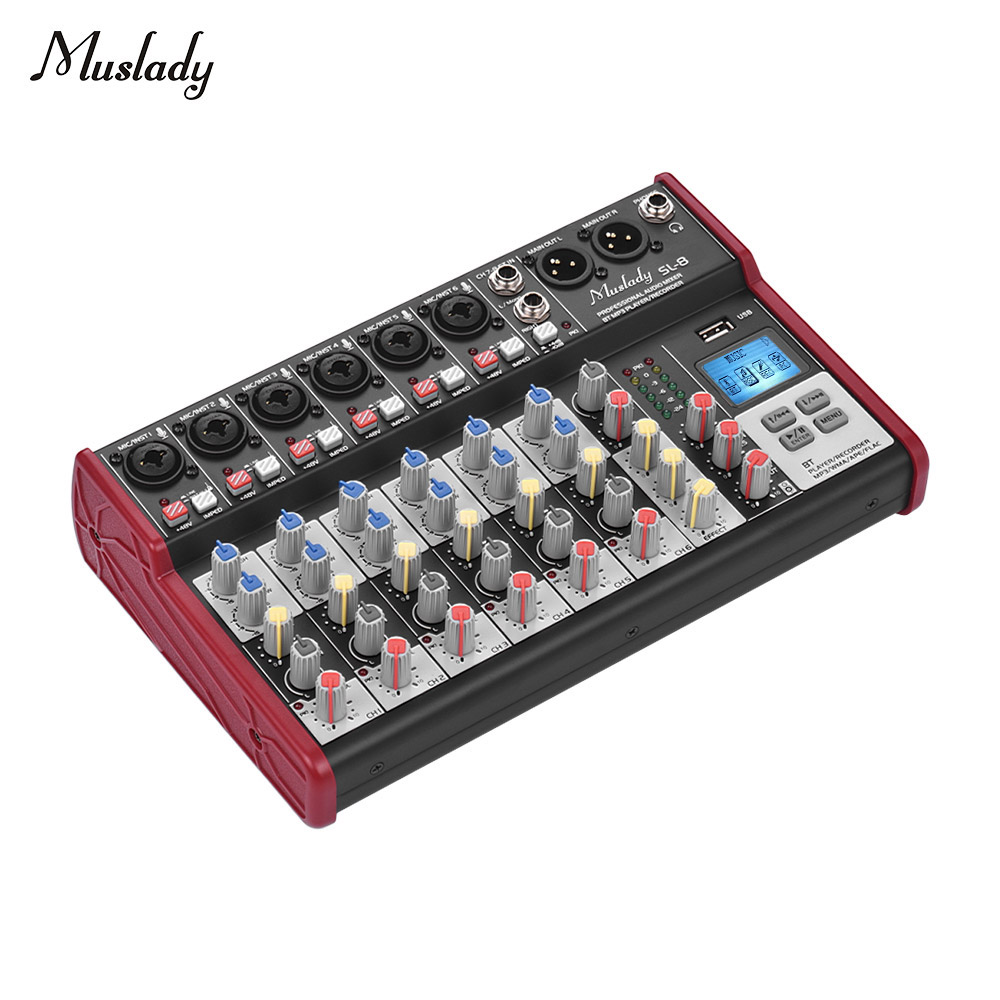 Muslady SL 8 Portable 8 Channel Mixing Console Mixer 2 band EQ Built in 48V Phantom