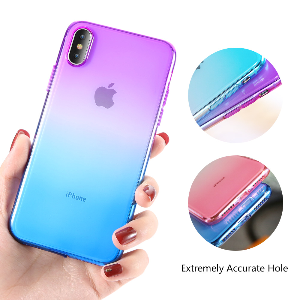 KISSCASE Gradient Clear Phone Case For iPhone 5 5S SE 6 6S 7 8 Plus Soft Silicone Cases For iPhone X XR XS MAX Phone Covers Capa in Fitted Cases from Cellphones Telecommunications