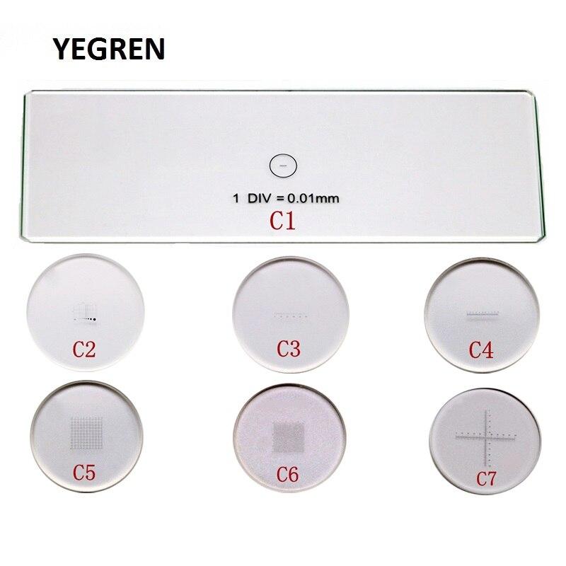 C1-C7 6 peças ocular micrômetro 1 peça estágio objectivo calibração slide para microscópio biológico 23.2mm ocular
