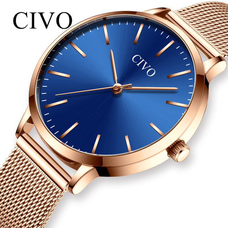 CIVO Ladies Watch Luxury Brand Watch Women Fashion Casual Waterproof Ultra Thin Steel Mesh Strap Elegant Quartz WristWatch Women in Women 39 s Watches from Watches