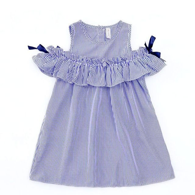 חם 2018 חדש קיץ ילדי פעוט שמלת תינוק בגדי בנות יום הולדת יפה כחול פסים כבוי כתף ראפלס המפלגה שמלת שמלות