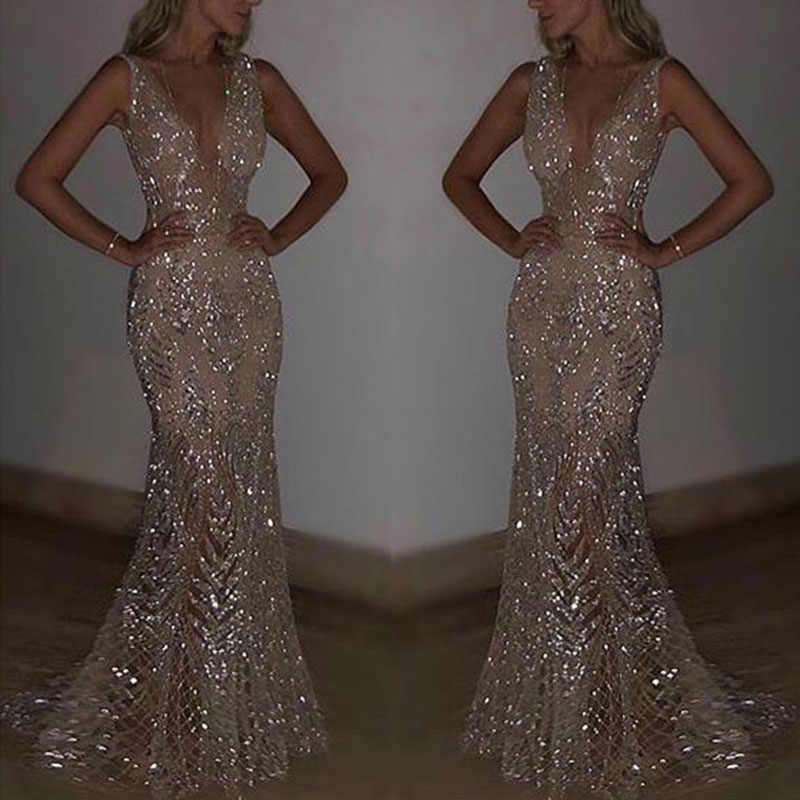 Women Wedding V-neck Sequin Long Dress Ladies Party Evening Ball Prom Gown Dress