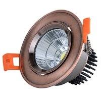 1pc regulable empotrada LED Downlight 3W 5W 7W 10W 12W 15W 20W 24W AC85-265V COB LED Spot regulable foco led de luz descendente de cobre  bronce