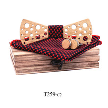 2019 European and American trend tie Cherry wood bow set hollow carving handmade fashion business banquet