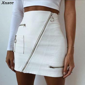 358f3846e Xnxee nuevo patrón 2018 medio cuerpo falda Sexy PU blanco cuero cremallera  paquete nalgas Faldas cortas Falda verano streetwear