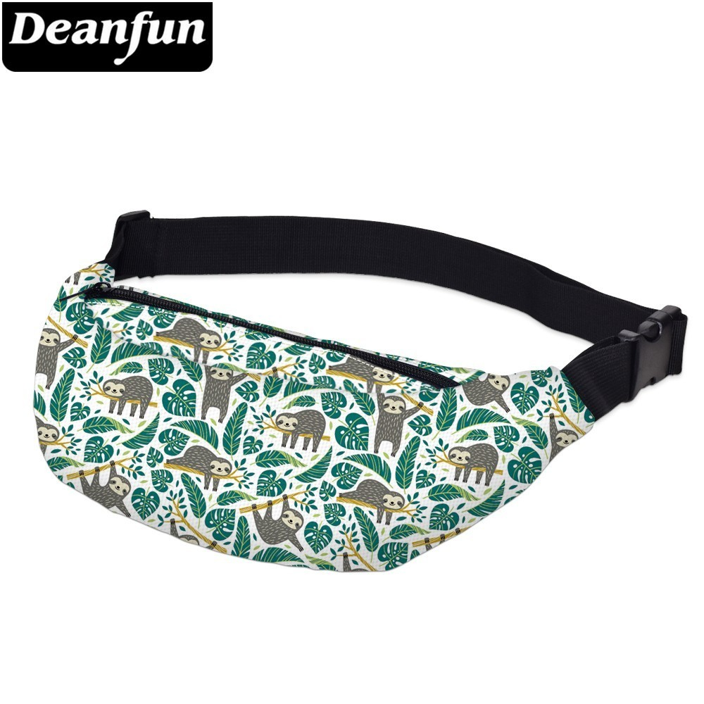 Deanfun Printing Grey Sloth Fanny Pack Male Waterproof Turtle Leaf Green Waist Pack Man Waist Pouch Travel  YB-44