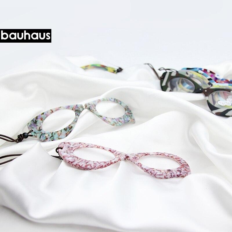 Bauhaus Italy Design Reading Glasses Acetate Leather Necklace Pendant Presbyopic Frame Fashion Pendant Free Shipping