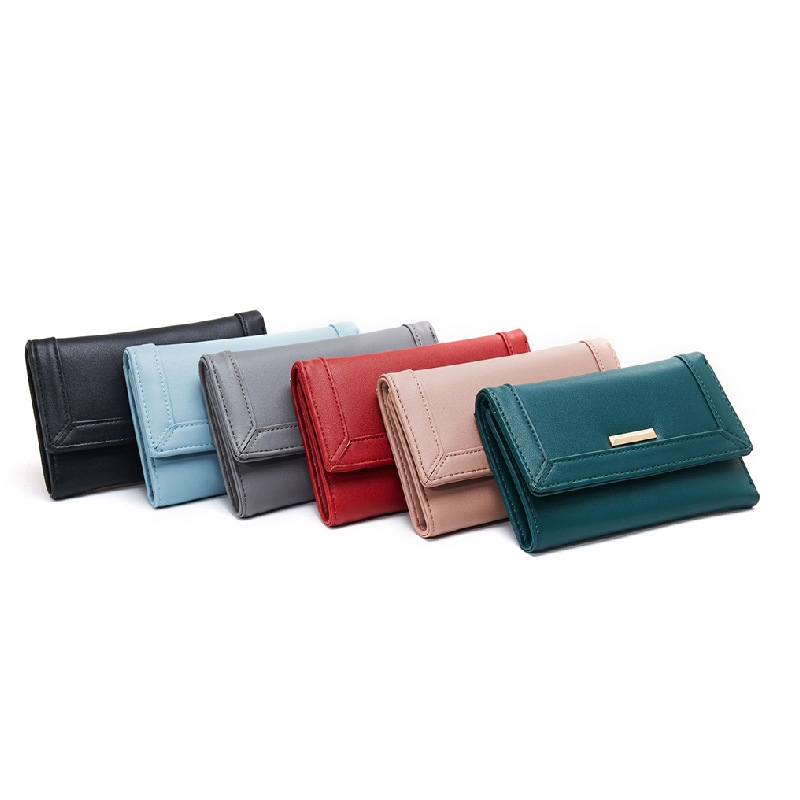 Multi Card Purse Mini Fashion Solid Color Short Multi Function Hand Held Ladies Wallet in Wallets from Luggage Bags