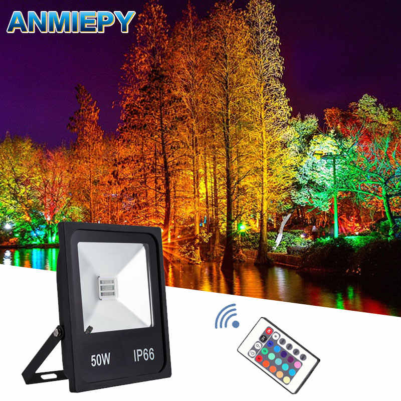 Floodlight Led RGB 10W 20W 30W 50W 220V 230V Waterproof Led Spotlight Outdoor Lighting Landscape Lighting With Remote Control
