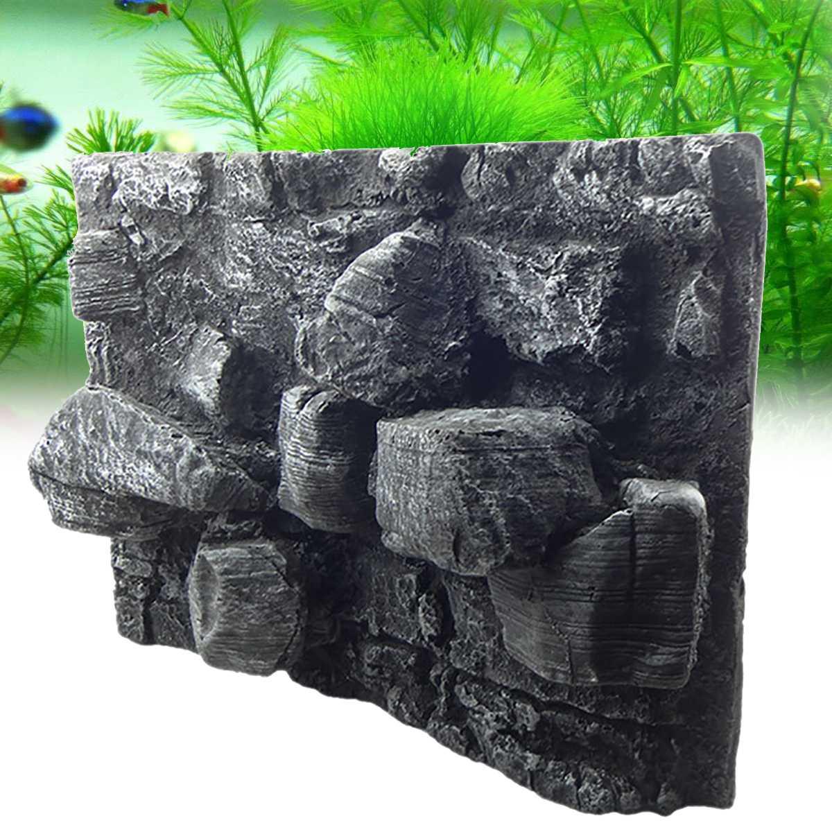 Reptiles grand 3D pierre roche Aquarium fond PU conseil poisson réservoir toile de fond plaque aquatique mur décorations 60X45X13 cm