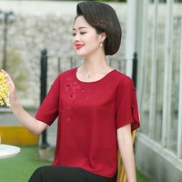 Middle Aged Women Chiffon T Shirts Plus Size O neck Floral Embroidery Short Sleeve Tops Korean Tshirt Casual Tee