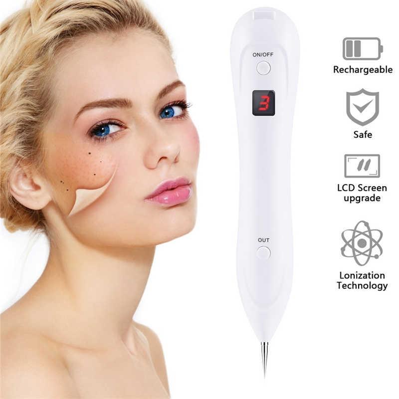 Lazer Çil Kaldırma Cilt Köstebek Kaldırma Karanlık Nokta Sökücü Yüz Siğil Etiketi Dövme Temizleme Kalem Salon Yüz Güzellik LED 6 seviye