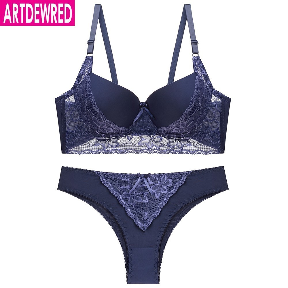 Women Sexy Lace   Bras   And Panties Top Push Up   Bra     Sets   Black Brassiere Blue   Briefs   Red Underwear Lingerie   Set