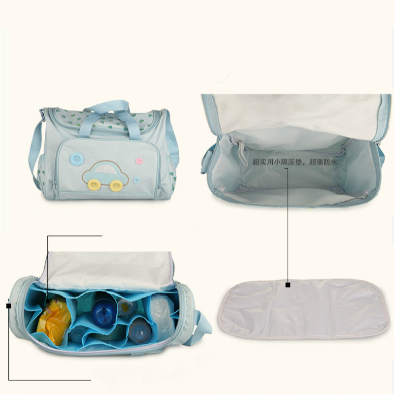 Image 2 - Diaper Bag 4PCS Set High Quality Tote Baby Shoulder Diaper Bags Durable Nappy Bag Mummy MotherPink/Blue/Yellow Baby Bags For Mom-in Diaper Bags from Mother & Kids