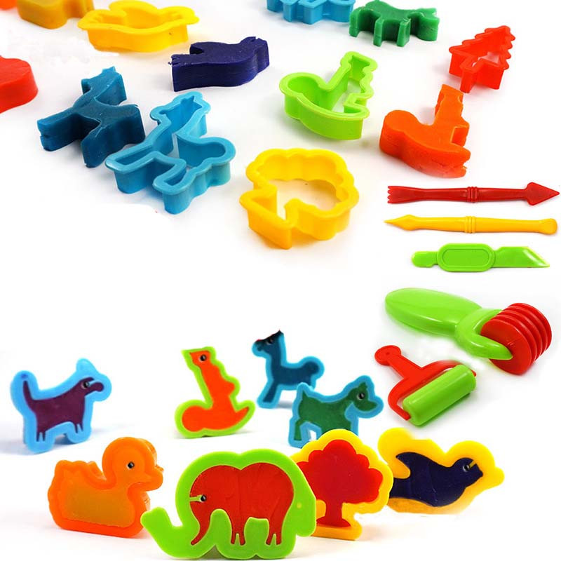 Children DIY 3D Creative Multi-style Colorful Tool Set Fun Claying Sand Mud Toys Beach Kids Outdoor Mold Color Random 26Pcs