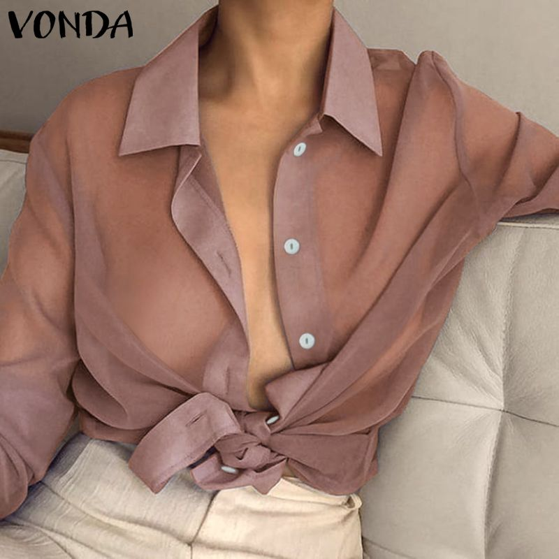 VONDA Women Sexy Lapel Neck Long Sleeve   Blouse   Plus Size Transparent See Through Top 2019 Spring Summer Beach Wear Office   Shirt