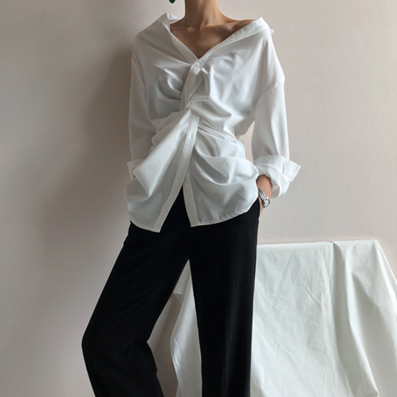 [EAM] 2019 New Autumn Winter White V-Neck Long Sleeve Irregular Cross Loose Personality Shirt Women Blouse Fashion Tide 1C069