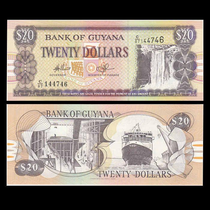 Гайана 20 долларов, 1996, P-30, UNC, лот 1/5/10 шт, кайетур падает, выход распространена, Соединенные Штаты Америки, коллекция, подарок, оригинал, натуральная кожа