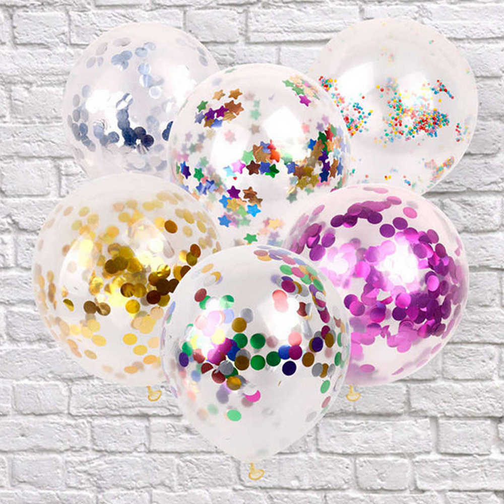 Multicolor 12inch Transparent Magic Latex Balloon Sequins Confetti Birthday Party Decorations Balloon Party Wedding Supplies