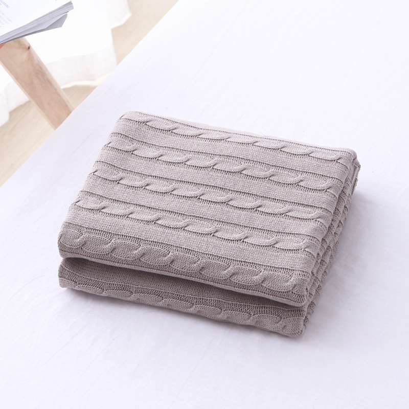 High Quality Stripes Style 180*200cm Solid Color Cotton Soft Knitted Blanket Handmade Bed Bedspreads Home Decoration Gift27