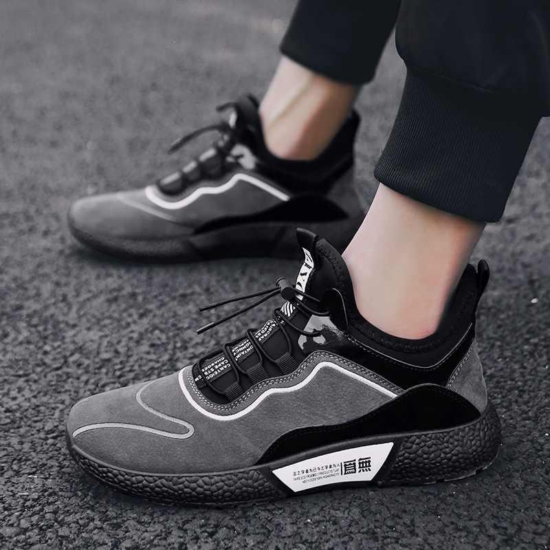 IMAXANNA/мужские кроссовки из замши с эластичной лентой; дышащая Спортивная обувь на шнуровке; мужская обувь на резиновой подошве; обувь на плоской подошве; кроссовки для отдыха; мужские спортивные кроссовки