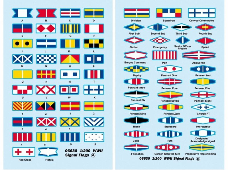<font><b>Trumpeter</b></font> 06630 WWII Signal Flags Decal Suitable for 1/200 Scale Model Ship TH06702-SMT2 image