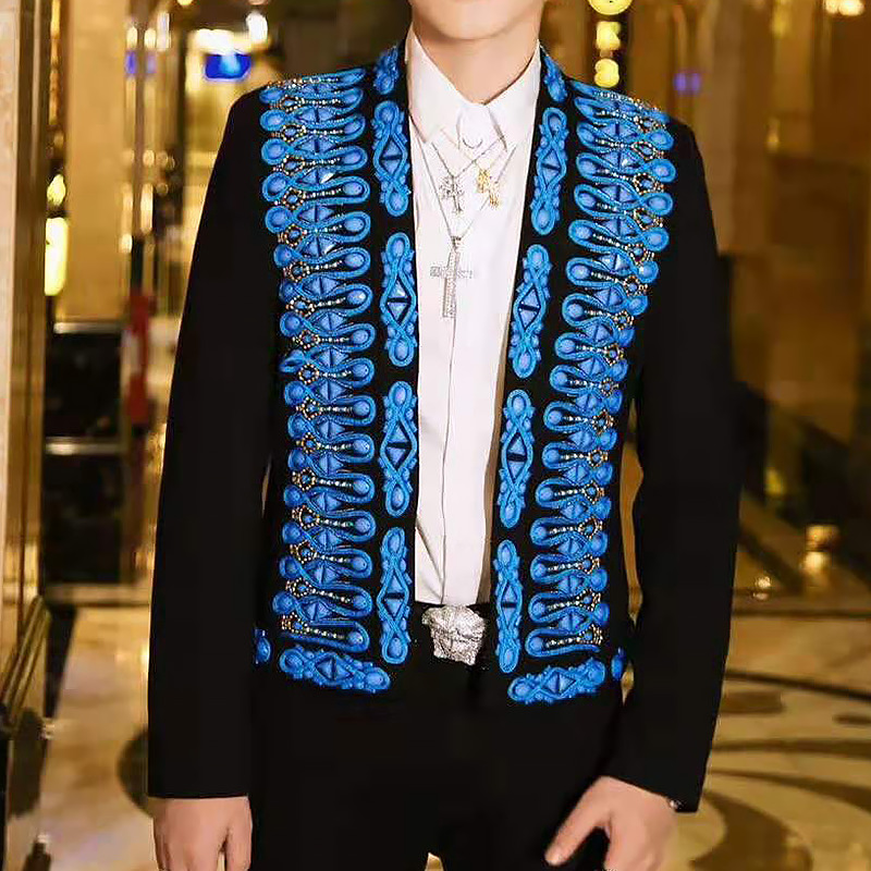New Tide Male Vocal Concert Stage Costume Bar Singer Casual Coat Handmade Costume Blue Crystals Beading Mens Jacket Court Dress