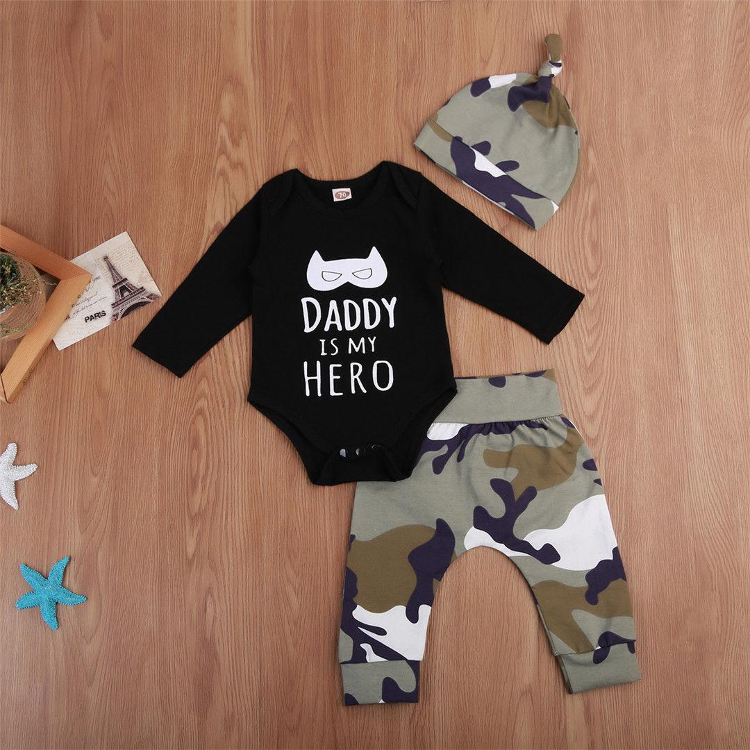 Pudcoco Boy Set 0-24M Newborn Baby Boys Tops Long Sleeve Romper Jumpsuit Pants Hat Outfit Set
