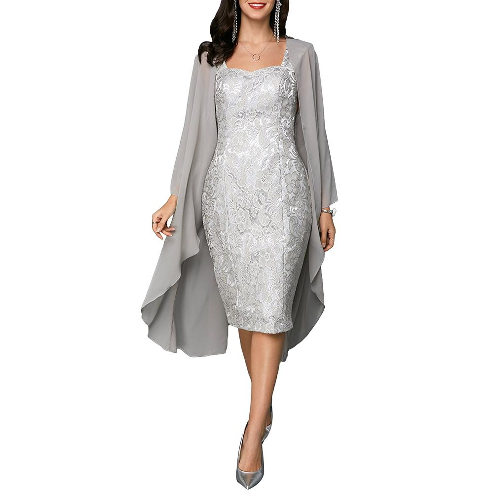 Women Formal Dress 2019 2Pcs/Set Wedding Party Knee Length Mother Of The Bride Lace Dress With Cardigan