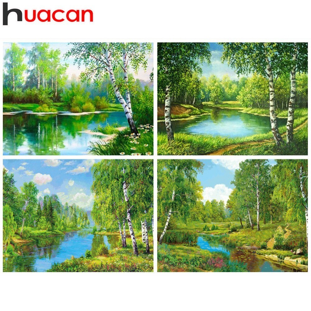 HUACAN 5D Diamond Painting Tree Needlework Craft Gift Full Square Diamond Mosaic Scenery Broderi Heminredning