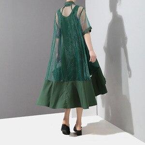Image 3 - [EAM] Women Green Organza Irregular Shirt Dress New Stand Collar Half Sleeve Loose Fit Fashion Tide Spring Summer 2020 JT581