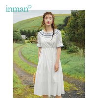 INMAN 2019 Summer New Arrival Cotton Lace O neck Defined Waist Embroidery Literary Gentlewoman Style Women Dress