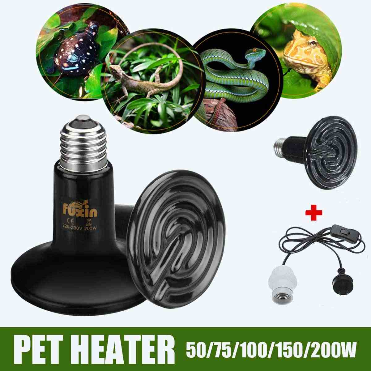 Pet Heater AU Plug 240V 90mm Ceramic Heat Lamp+Holder with 1.5m Cable Mini-type Reptile Infrared Heater Temperature Control